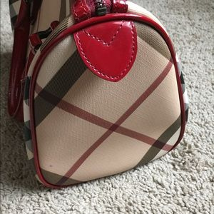 Burberry Bags - Burberry nova check Chester bowling bag red patent